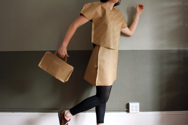 paper striped shirt, sailor skirt, and handbag