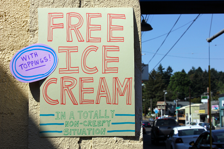 free ice cream sign