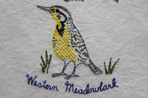 western meadowlark embroidery