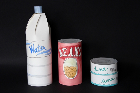 paper water bottle, can of beans, and cans of tuna