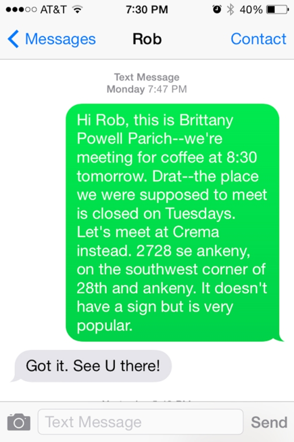 text to rob nosse
