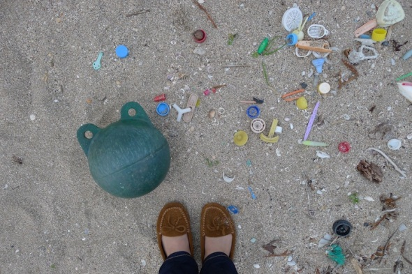 plastic objects from a Japan Seaside beach