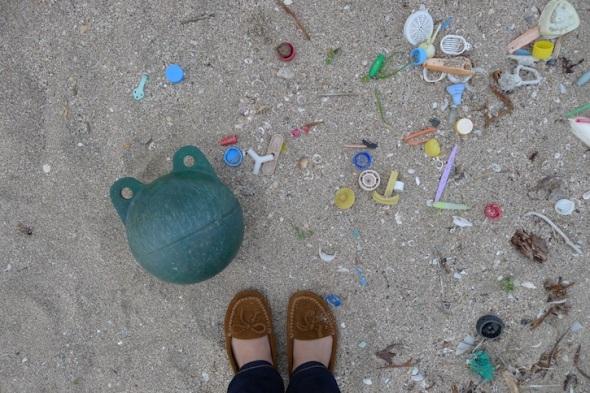 plastic objects from a Japan Seaside beach