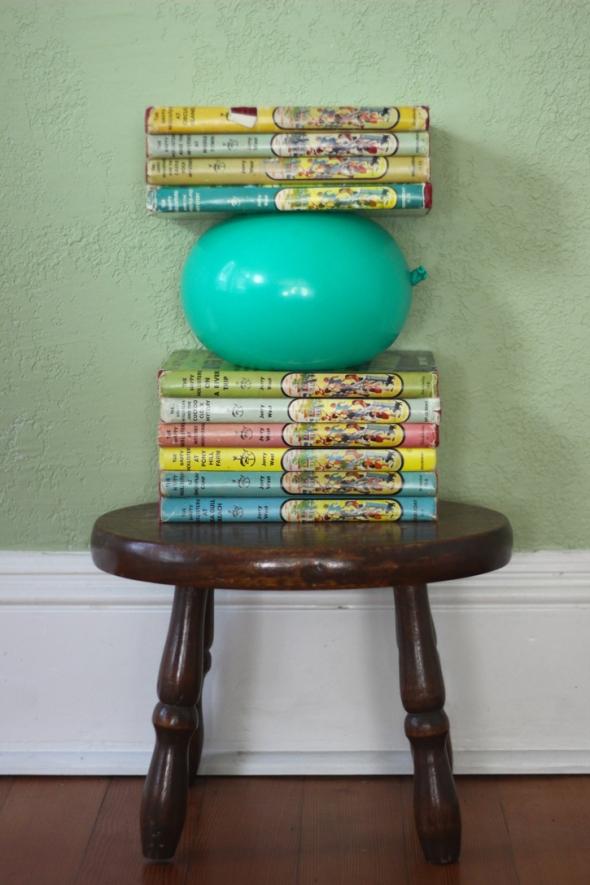 balloon book stack