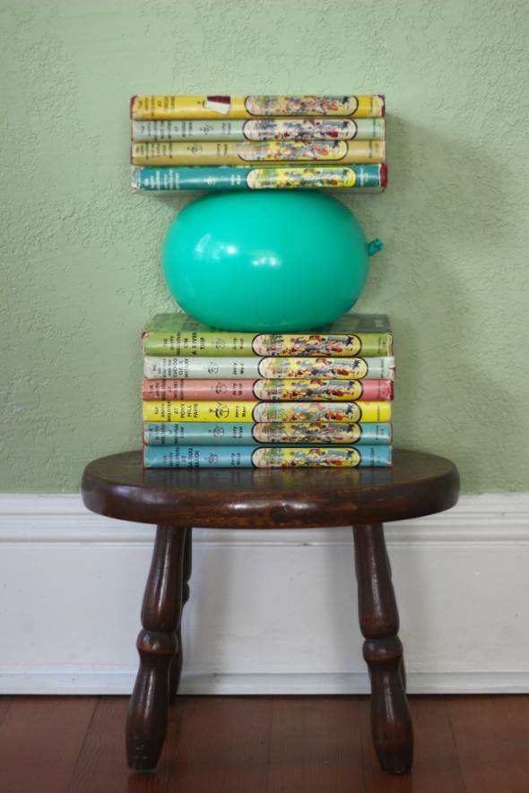 balloon book stack