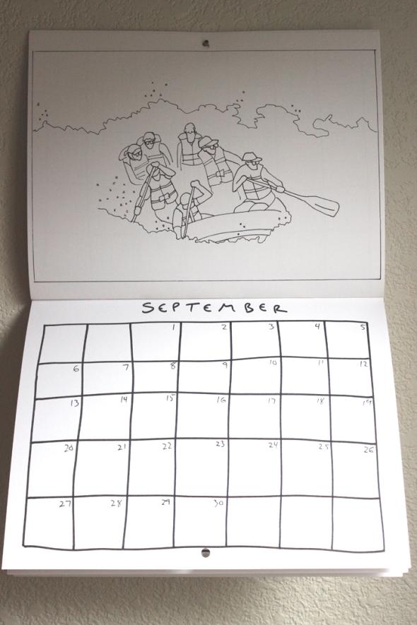 september coloring calendar