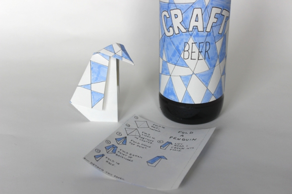 origami penguin beer label