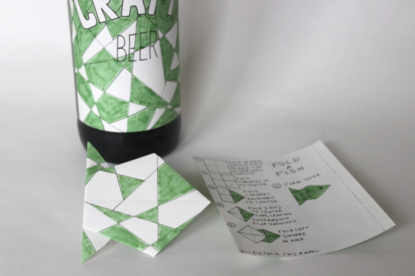 origami fish beer label