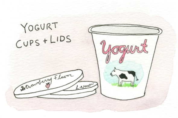 yogurt cups and lids