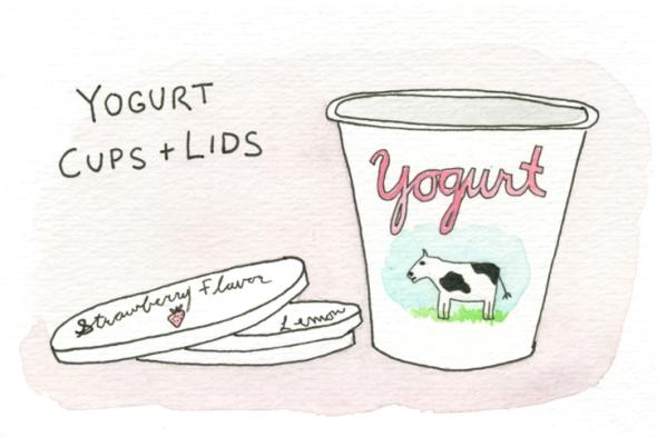 yogurt cups and lids