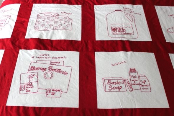 emergency preparedness quilt toiletries