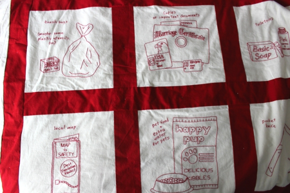 emergency preparedness quilt happy pup