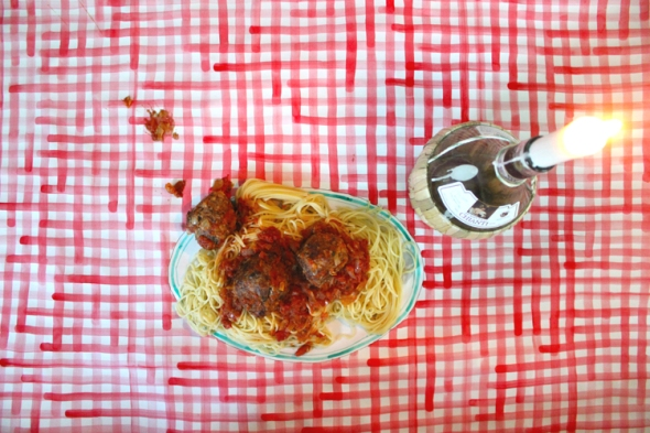spaghetti & meatballs on a paper plate
