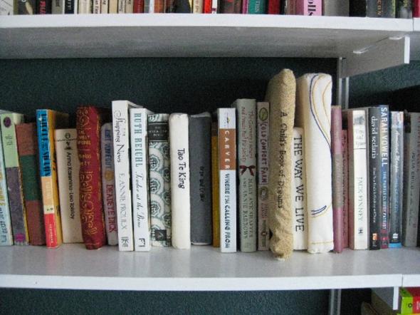 embroidered bookshelf