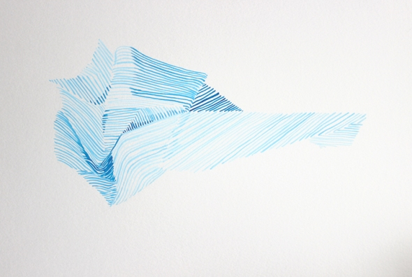 blue stripes crumple painting
